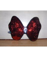 Red Sequined Applique Bow Handmade - $10.95