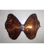 Orange Sequined Applique Bow Handmade - $10.95