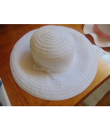 Sun Hat Lady Summer White Brimmed-New W/O Tag-Has White Ribbon-Spot Clean Only - $4.94