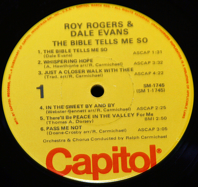 "Roy Rogers & Dale Evans ""The Bible Tells Me So""   LP"