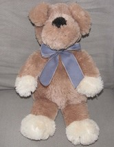 Animal Adventure 2005 Stuffed Plush Puppy Dog Tan Brown Blue Gingham Ribbon Bow - $47.02