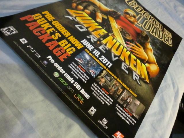 Duke Nukem Forever, xbox 360 PS3 PC 2K Games wall poster
