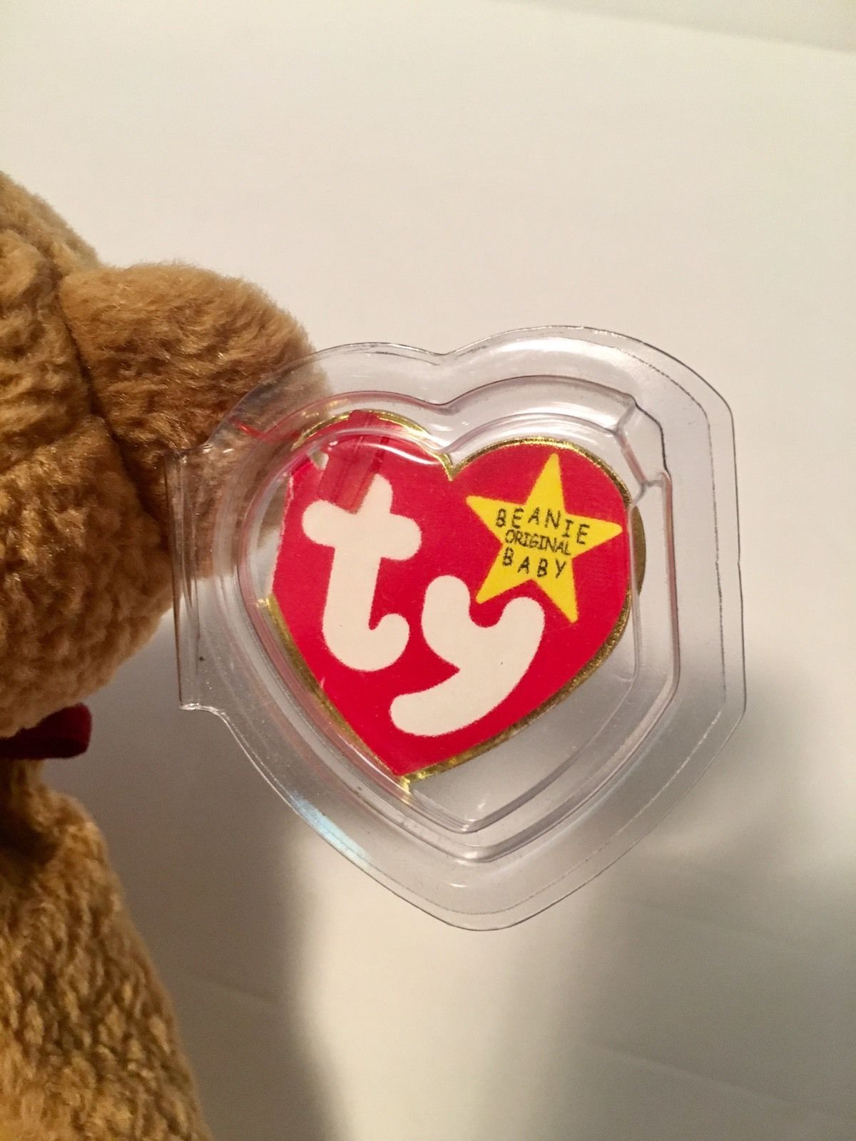 Ty Beanie Babies Plush Beanbag Curly the Bear Brown with Errors