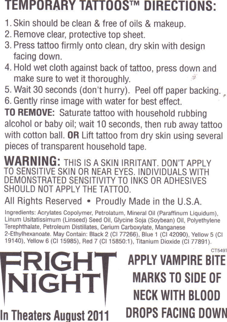 6 pcs. FRIGHT NIGHT Temporary Tattoos Aug 2011