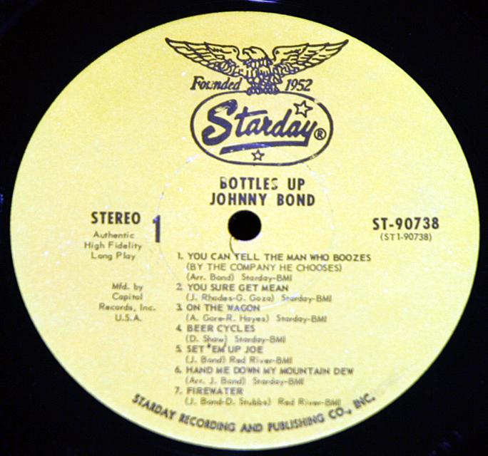 """Johnny Bond """"Bottles Up""""    LP"""
