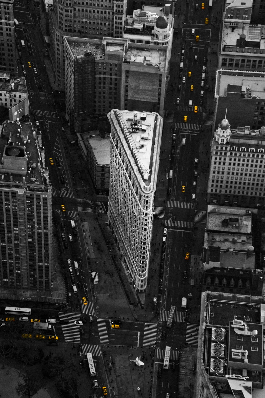 "New York City Aerial Photography Black and White Wall Decor - ""Cabs & Contrast"""