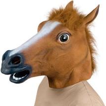 New Horse Head Mask Creepy Halloween Costume Fur Mane Latex Realistic Fu... - $34.25 CAD