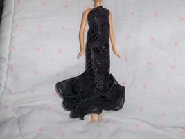 Mermaid Style Gown in Iridescent Black Glitter Dot and Black Chiffon Ruf... - $5.95