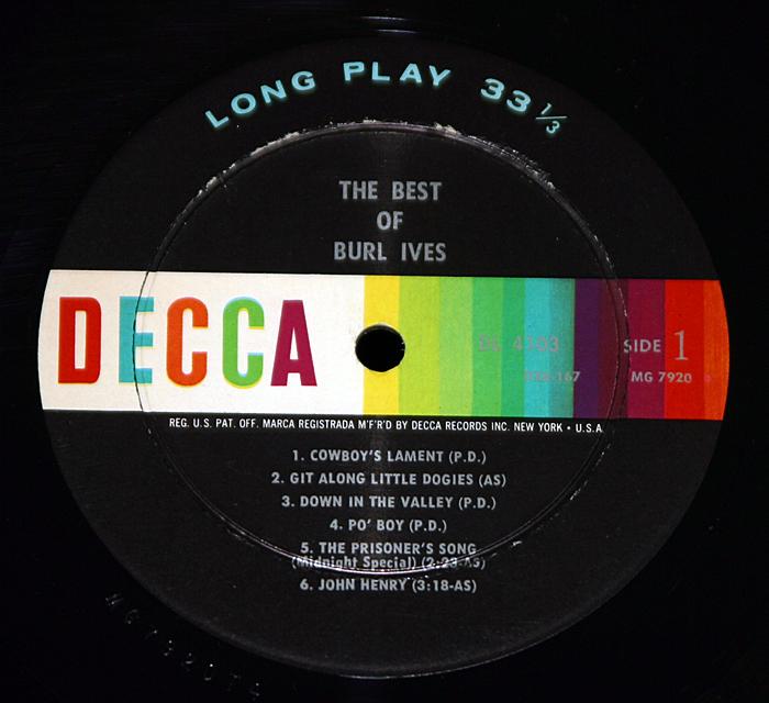 "Burl Ives ""The Best Of""    LP"