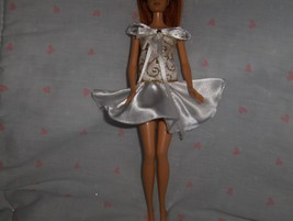 White Satin and Gold Chiffon Glitter 2 piece Top and Skirt fits Barbie a... - $10.95