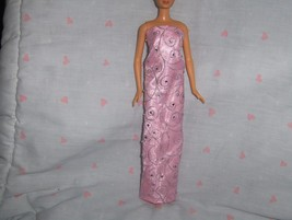 Pink Satin Gown with Pink and Silver Glitter Chiffon Overlay with Rhines... - $10.95