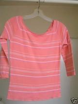 Peach w/white stripe 100% Cotton jersey Shirt - sz. Sm. - $5.00