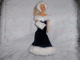 Blue Velour Gown with White Fur Hem and Bodice Hat and Muff included fit... - $10.95