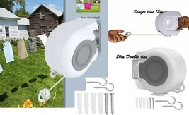 12M & 26M Double & Singl Reel Retrctable Washing Line/Clothes Airer Wall... - $137.10