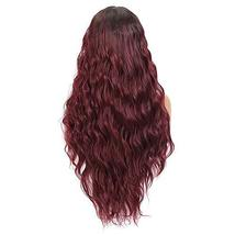 Long Wavy Lace Front Wigs For Women 24 Inch Deep Wave Wig Ombre Burgundy Synthet image 3