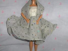 Celadon Green Silk Dress with Celadon Chiffon Overlay with Iridescent Do... - $10.95