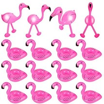 Gejoy 16 Pieces Inflatable Flamingo Set Includes 4 Pieces Inflatable Pink Flamin