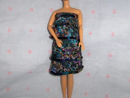 Multi Colored Silk Paisley Ruffled Party Dress with Iridescent Sequin Tr... - $5.95