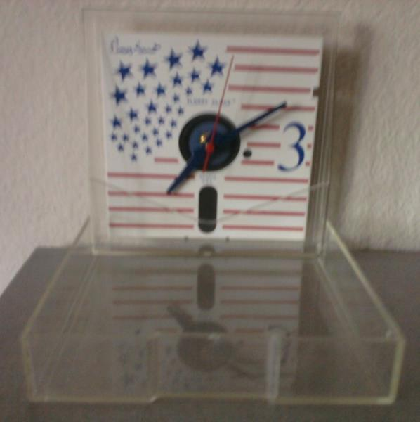 """5-1/4"""" FLOPPY DISK wall clock retro '80s Red White Blue clear hinged case USA"""