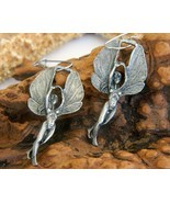 Winged Fairy Goddess Earrings Fantasy Pewter Pierced Nudes - $14.95