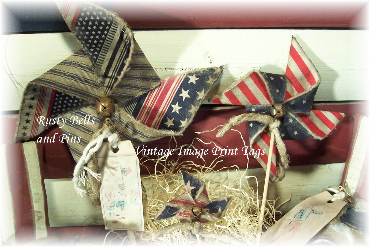 ~Primitive Grungy Uncle Sam & Pinwheel Tucks~