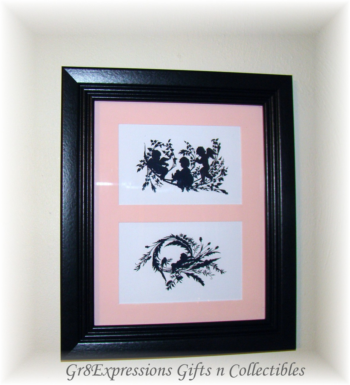 Shabby cherubs double silhouette 8x10 picture