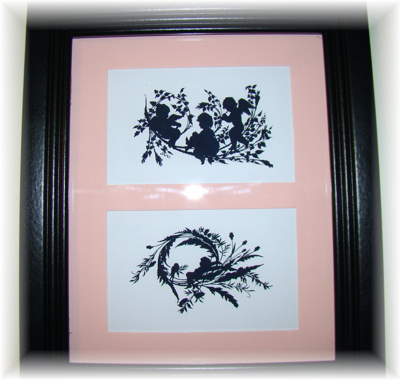 ~Sweet Shabby Cherubs Double Silhouette 8x10 Picture ~New~