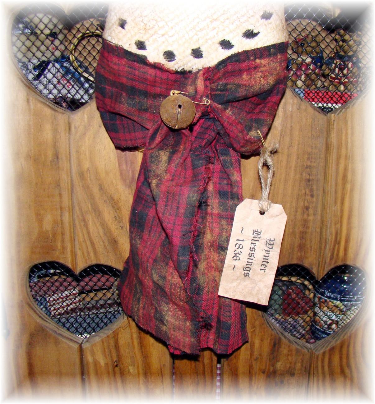 "Primitive 25""Olde Snowman Head Winter/Christmas Greeter"