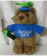 "Plush Creations Reel Great Dad Teddy Bear 14"" Tall Fishing Father's Day ... - $22.76"