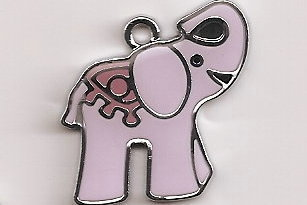 Primary image for Pink Elephant Tibetan Silver Pendant .26 X .24 MM
