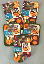 Dish Towels Pot holders Oven Mitt Fall Thanksgiving 5 Pc Set Owl Fox Pum... - $29.58