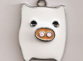 Primary image for PIG White Tibetan Silver Pendant .27 X .21 MM