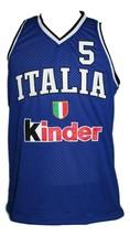 Gianluca Basile #5 Italia Basketball Jersey Sewn Blue Any Size image 3