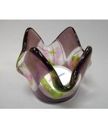 Candle Cup Amethyst Dreams Fused Glass Tea Light Holder Trinket Dish - $27.00