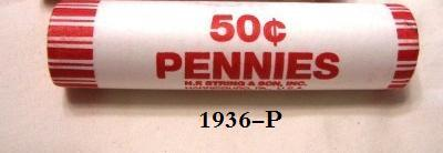 Primary image for 1936-P Circulated Lincoln Wheat Cent Roll