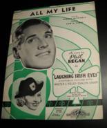 Sheet Music All My Life Laughing Irish Eyes Phil Regan 1936 Walter Kelly... - $8.99