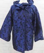 ST JOHN Brocade Evening Jacket Ruffle Collar Size 8 Black & Blue Overcoa... - $276.21