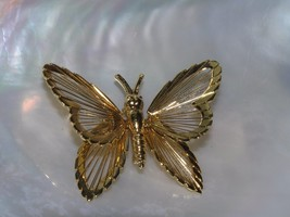 Estate Monet Signed Goldtone Wire BUTTERFLY or Moth Pin Brooch – marked ... - $10.39