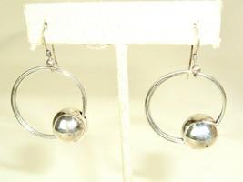 Vintage Sterling Silver 925 Round Geometric Mod Hoop Dangle Earrings - $39.55