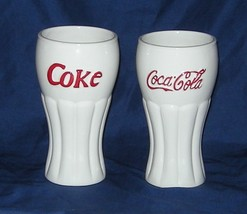 An item in the Collectibles category: Coke Coca Cola Set of Two White Glasses 2002 Houston Harvest
