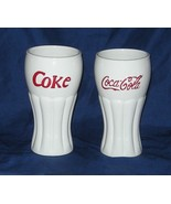 Coke Coca Cola Set of Two White Glasses 2002 Houston Harvest - $11.00