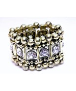 Chunky clear crystal strech fashion ring antique gold - $13.86