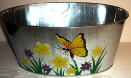 Oval Galvanized Tin Yellow Butterfly Planter - $5.00