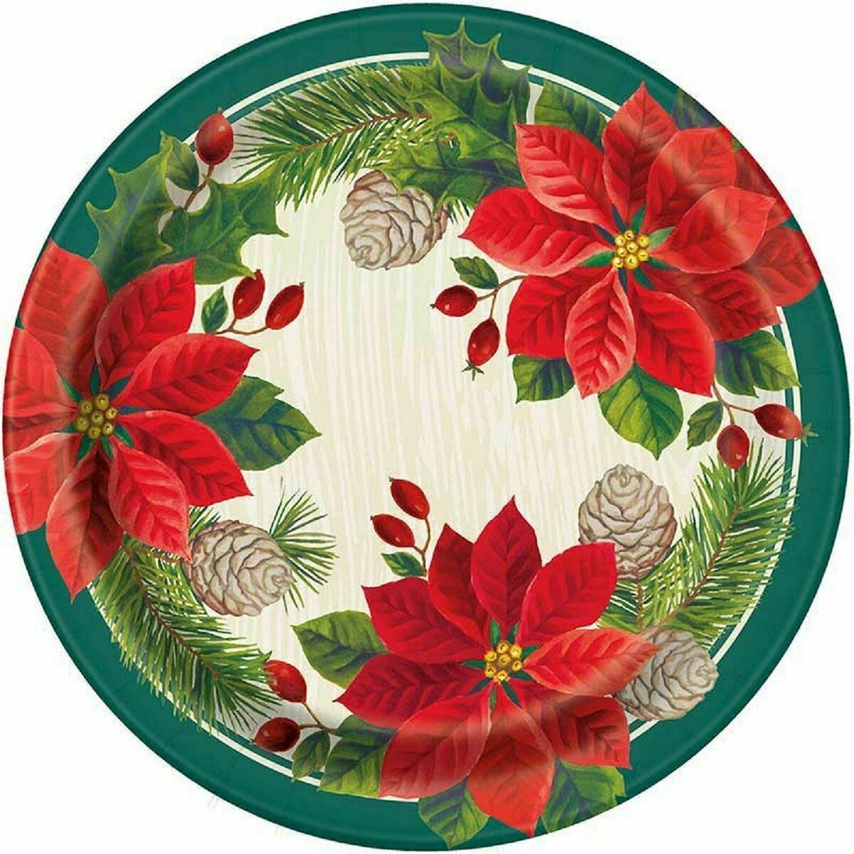 "Red Green Poinsettia Christmas 8 Ct Paper 9"" Luncheon Plates - $4.35"