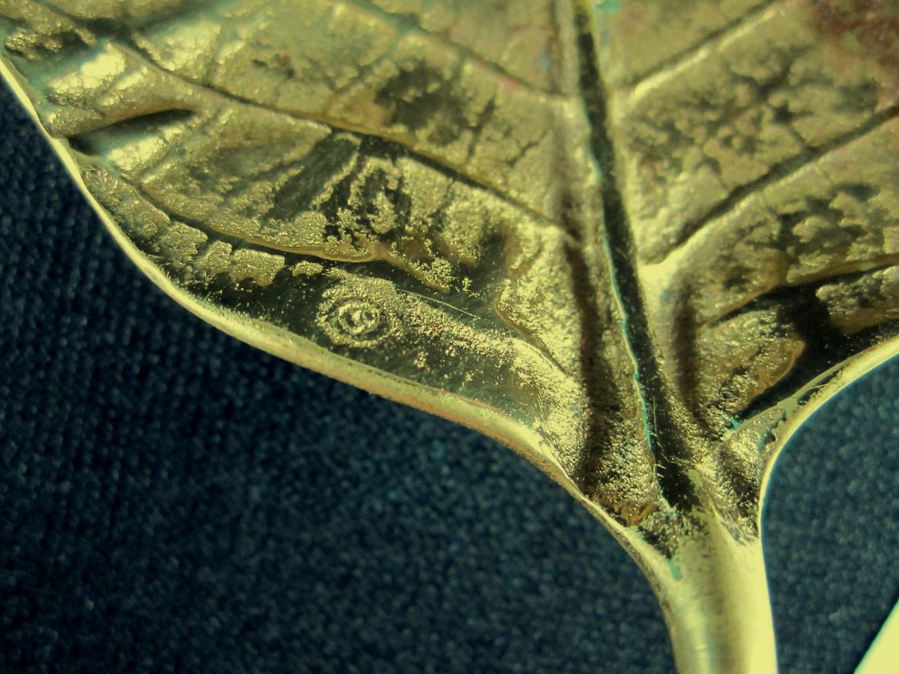 Virginia Metalcrafters Poinsettia Brass Leaf Tray 3-44 Vintage 1948 Oskar Hansen