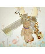Teddy Bear Cellphone Charms - BEIGE BOW - $5.00