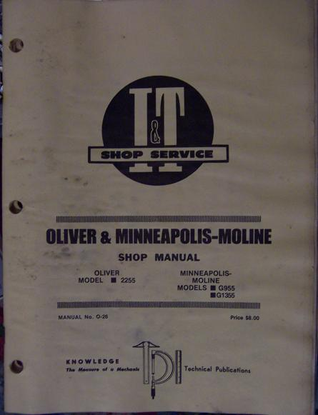 Oliver 2255, Minneapolis Moline G955, G1355 Tractors Service Manual