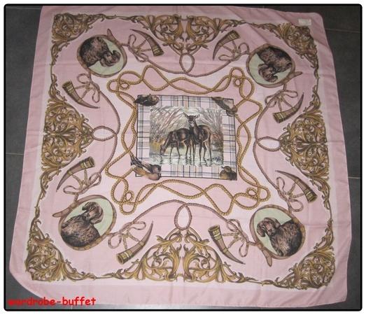 NWOT Women's Vintage Pink Animal Print Designer Scarf Kerchief NEW 44X44