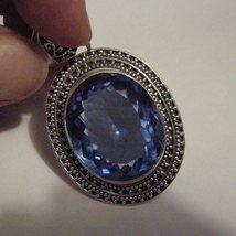 Silver Pendant Cornflower Blue Quartz 48ct - $39.00