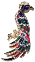 PEACOCK Bird Pin Brooch Clear Crystal Multicolor Enamel Goldtone - $14.95